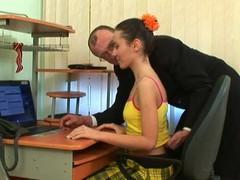 Charming beauty is delighting old tutor's hard male rod