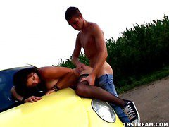 Berta wanted to go for a drive, but that babe didn`t tell her fortunate boyfriend where this was going to end up. That Babe wanted some place where they could be alone and no one could hear her. This legal age teenager nympho is a loud moaner and when this guy really starts to fuck her hard, it`s becomes really difficult for her to stay quiet. But in this spot that`s in the middle of nowhere, they can be as loud as they want. They`re not holding back anything this time. This Guy pounds her twat right on the hood of the car and covers her face with cum.